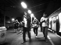 Hurry (Henry Sudarman) Tags: blackandwhite hitamputih bw monochrome people humaninterest nightshot bekasi jawabarat rushhour afterhour olympus pen epl7 lumix12323556 olympuspenepl7 street train station trainstation publictransportation transportation