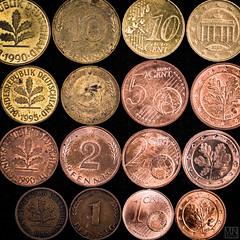 "evolution ""Macro Mondays"" (MAICN) Tags: oldnew pfennig € dm macromondays 1 2 evolution cent macromonday dmark euro 10 5 2017 macro mm"
