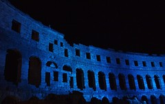 Nights are forever (RECTANGULAR ART) Tags: pula amphitheatre amfiteatar arena pulskaarena croatia hrvatska amphitheater roman ancient romans wall stone limestone arches structure architecture night dark blue history historical pola istra ancientmonument istria adriatic black