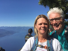 Happy at the Top (David J. Greer) Tags: vancouver bc saint marks summit hiking sky ocean sea fjord view blue male female man woman couple married relationship partner spouse