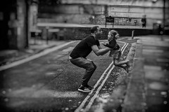 jump (Daz Smith) Tags: dazsmith fujixt20 fuji xt20 andwhite bath city streetphotography people candid portrait citylife thecity urban streets uk monochrome blancoynegro blackandwhite mono father daughter child jump jumping