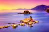 L'acqua è insegnata dalla sete.     Κέρκυρα (Gio_ said_good_by) Tags: greece sunset grecia seascape landscape sea church atmosphere light quiet εκκλησία θάλασσα ηλιοβασίλεμα canon eos travel blue vlaherna pontikonissi corfù
