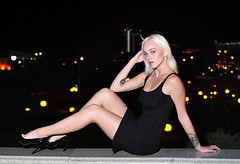 The blonde in the night city (zmvphoto) Tags: girl glamour elegant highheels legs gimp speedlight offcameralighting young beautiful blonde sb700 darktable cute city