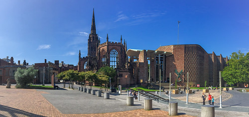 Old Coventry cathedral ruins and new cathedral