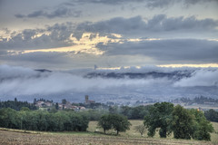Evening over Cordelle, France (Joost10000) Tags: cordelle loire france frankreich frankrijk europe evening clouds village sunset scenic rustic landscape landschaft farmland trees church canon canon5d nature natur outdoors hills mountains cattle cows eos beauty