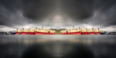 Offshore Intermission (Kurt Evensen) Tags: manipulation maritime mirror offshoreindustry reflection seascape ships shore shoreline sky vessels water waterfront