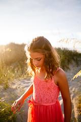 (Rebecca812) Tags: girl child beach sanddunes beachhair wavyhair beautiful dress peach sweet lookingdown candid sky lensflare sunrise sun sunshine idyllic portrait tween beachgrass sand path canon people