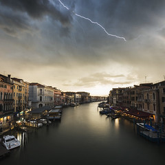 Lightning Storm over Venice (NOAC_) Tags: venice italy venezia italia ponte water reflection sunrise dawn dusk crepuscular sunshine sun light sunlight long exposure yellow orange bright pentax k5 iis sigma 1020mm f35 ex dc hsm river city architecture urban landscape cityscape skyline beautiful travel world rialto storm lightning bridge skies sky weather smooth cities scenery view amazing pretty night late evening day daytime nighttime dark incredible favorite