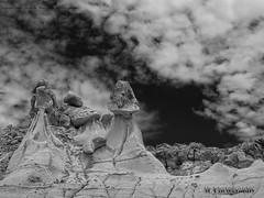 Bisti Badlands-12 (jamesclinich) Tags: bisti badlands danazin wilderness farmington newmexico nm rock desert sky clouds landscape handheld availablelight olympus omd em10 mzuiko1240mmf28pro adobe photoshop topaz denoise detail blackwhite bweffects monochrome