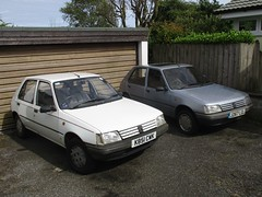 205s with new MOTs (occama) Tags: k851cwk j267lgl peugeot 205 pair old cars bangernomics french cornwall 1992