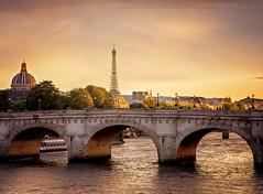 :: sunset on the seine :: (mjcollins photography) Tags: eiffel tower tour paris france city europe arcitecture sun set seine river travel location