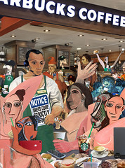 """""""Picasso at Starbucks"""" (barry.kite@att.net) Tags: picasso lapinagile lesdemoiselles starbucks coffee saltimbanques cubism iphones selfies parody satire collage humor funny espresso blueperiod dresscode bagels cappuccino"""