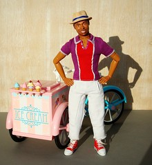 Ice cream? (Deejay Bafaroy) Tags: barbie doll puppe sunny sonnig outdoors draussen thierryhenry kickomania actionfigure male homme black moxiegirlz icecreambike 16 scale playscale miniature miniatur pink rosa blue blau red rot purple lilac violett lila turquoise türkis hat hut icecream eis glace