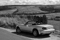 Pottering about (HonleyA) Tags: yorkshire mazda mx5 miata mx5na car classic mono blackandwhite unitedkingdom countryside summer convertible sportscar fuji fujifilm fujifilmxt10