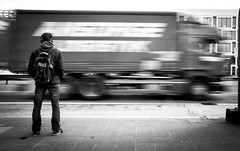 to fast (ThorstenKoch) Tags: street streetphotography strasse stadt schatten shadow truck blackwhite bnw pov photography photographer blur fuji fujifilm xt10 city candit picture
