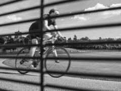 Cyclist At Preston Park Velodrome (grahambrown1965) Tags: velodrome cyclist bicycle ricohimagingcompanyltdpentaxk3ii ricoh pentax k3ii pentaxk3ii 21mm limited limitedlens 21mmlimitedlens pentax21mmlimitedlens hd blackandwhite monochrome bw bwfilter bw090filter 090 preston park prestonpark sussex eastsussex cloud clouds railing railings fence stmarys saintmarys stmaryschurch saintmaryschurch chapel