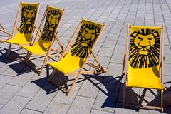 Reserved for lions (Ulrich Neitzel) Tags: deckchair empty gelb hamburg königderlöwen leer liegestuhl lion löwe mzuiko1250mm olympusem5 reserved reserviert sonne sun thelionking yellow