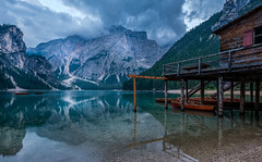 Cabin by the lake (Mario Visser) Tags: lagodibraies lake dolomites water reflection italie pragserwildsee braies italy lago tyrol di beautiful nature blue green alps travel landscape outdoor park tourism forest europe rock scenery italian valley peak