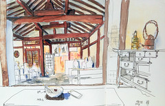 Inside a traditional Korean Hanok house, 20170818, 인사동 (Insadong), Seoul (velt.mathieu) Tags: sketch croquis mathieuvelt 대한민국 하녹 watercolor