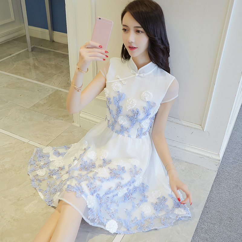 The small fresh female skirt 2017 summer new mesh embroidery cheongsam floral lace dress Xian