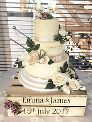 Semi Naked Fresh Flower Wedding Cake