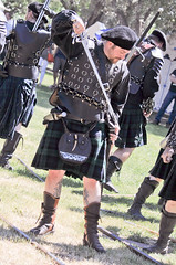 Scottish Halberdiers (GazerStudios) Tags: hats scottish kilts warriors battle boots livinghistory celtic 55300mm nikond90 swords weapons armor men renaissance 15thcentury tattoos sporrans leather historicalreenactment berets crochet groups