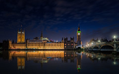 Westminster Palace and Big Ben (PrevailingConditions) Tags: 2017 london westminsterpalace thames bigben night landscape river reflection tower city architecture lights