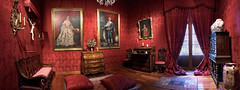 iturbide's palace (viceregal room) (ikarusmedia) Tags: colonil baroque dark red tapestry painting old furniture drapes iturbides palace vicerigal room panorama historical center downtown mexico city