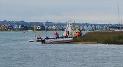 Sailing activities:  22.8.17. (VolVal) Tags: dorset bournemouth hengistburyhead sailingboats beachhuts river august
