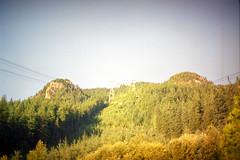 Grouse Mountain 8: Gondola Descent (pmvarsa) Tags: vancouver bc britishcolumbia grouse mountain 1998 summer film kodak gold kodakgold200 135 35mm analog nature gondola lift sky blue trees green outside canon ftb fd cans2s classic camera vignette tourism nikonsupercoolscan9000ed nikon coolscan west coast