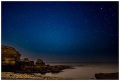 The star light Wherry (malcbawn) Tags: longexposure whitburn northsea rocks stars night souter asrtro lizardpoint carlzeiss distagon marsden
