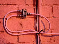 In the Pink (pjpink) Tags: pink wire connections brick wall urban rva richmond virginia june 2017 summer pjpink 2catswithcameras