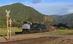 Rolling into Paradise (GLC 392) Tags: gas local emd sd70ace mt montana 4406 4408 railroad railway train search light lights mountain grass shade shadows up hill sky locomotive car paradise crossing 10th 4th sub subdivision evening mrl