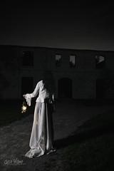 Ghost Walk (wilbias) Tags: girl night light architecture white walk dark ghost shadows dress vertical fairytale gothic ruins mistery