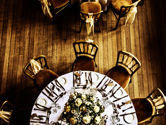The Wedding Reception (Steve Taylor (Photography)) Tags: wedding reception bow silk bouquet setting glass plush plate knivesandforks spoon art digital chair floor table brown monocolor monocolour monotone wooden uk gb england greatbritain unitedkingdom flower perspective texture kent hallplace glasses dinner party ribbon tablecloth