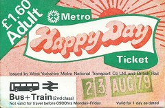 WYPTE Metro Happy Day Ticket 1979 (Ray's Photo Collection) Tags: scan scanned document 1979 travel ticket bus buses train rail metro wypte britishrail br metrobus metrotrain metrolink west yorkshire yorks