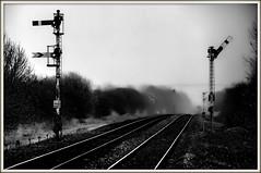 Riding in the mist (david.hayes77) Tags: gilberdyke eastriding yorkshire 2014 dmu mist monochrome mono blackandwhite humberside semaphores signals fog gritty oxmardyke oxmardykesignalbox