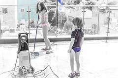 rooftop pool-9 (lermaniac) Tags: red outdoors rooftop pool sprinkler bnw blackandwhite kids children child wet family joy