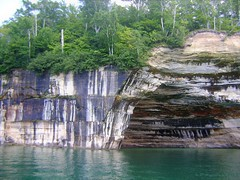 OPTICAL ILLUSION? (Rob Patzke) Tags: rock optical illusion superior color lake shoreline strata trees