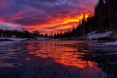 Dream Lake Sunrise (NickSouvall) Tags: dream lake hallet peak mountains mountain trees icy frozen ice waves color colorful sky clouds sunrise morning early orange pink purple red rocky national park colorado landscape nature wilderness wild outdoors outside photo photography picture adventure explore discover hike hiking