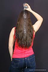 Kerstins wetlook hairwash (Wet and Messy Photography) Tags: jonathan hairwash hair wethair longwethair jeans wetjeans water shower brunette brown longhair indoor studio
