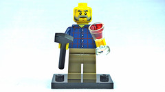 Brick Yourself Custom Lego Figure  Grandfather with Red Wine