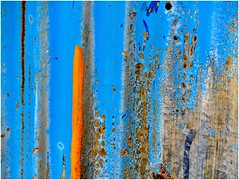 Orange Stripe (In Explore) (jesse1dog) Tags: blue paint weathered corrugated cladding lf1 stripe orange abstract aberlour moray scotland autoworks rust peeling