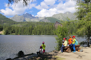 Colorful schoolkids at lake Štrbské