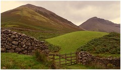 Gateway to the fells. (A tramp in the hills) Tags: kirkfell greatgable wasdalehead lakedistrict cumbria westernfells valley mountains walking gate drystonewalls