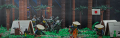 From the Depths of the Forest (W. Navarre) Tags: lego samurai attack ambush fog dark midnight moonlit moon flag japan tent camp rifle ashigaru soldiers