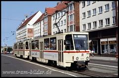613-1992-08-01-1-Steinstraße (steffenhege) Tags: rostock strasenbahn streetcar tram ckd t6a2 613