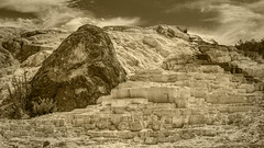 Palette Springs, Mammoth Hot Springs (Yellowstone NP) (♡✌ Kᵉⁿ Lᵃⁿᵉ ✌♡) Tags: geo:lat=4497263093 geo:lon=11070531450 geotagged mammoth unitedstates usa adventure calciumcarbonate clouds exploring geothermallandscape hotspring hotsprings landscape mammothhotsprings mineraldeposition mineraldeposits monochrome monotone nationalpark nationalparkservice naturalwonder nature palettesprings palettespringsmammothhotsprings rock scenic sepia sky thermalfeature tourism touristattraction tourists travel travelblog travelphotography travelingadventures travertineterrace usnationalpark usnationalparkservice unitedstatesnationalpark worldadventures worldtravel worldsfirstnationalpark wy wyoming yellowstone yellowstonenationalpark yellowstonenp ynp
