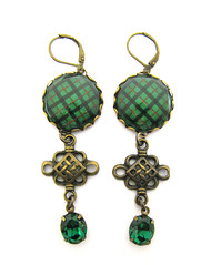 Ancient Romance Series - Scottish and Irish Tartans Collection - Kincaid Clan Tartan 20mm Round Bezel Earrings with Celtic Charms and Emerald Green Czech Glass