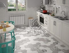 Nền nhà dùng gạch lục giác trắng và Gạch lục giác bông hỗn hợp